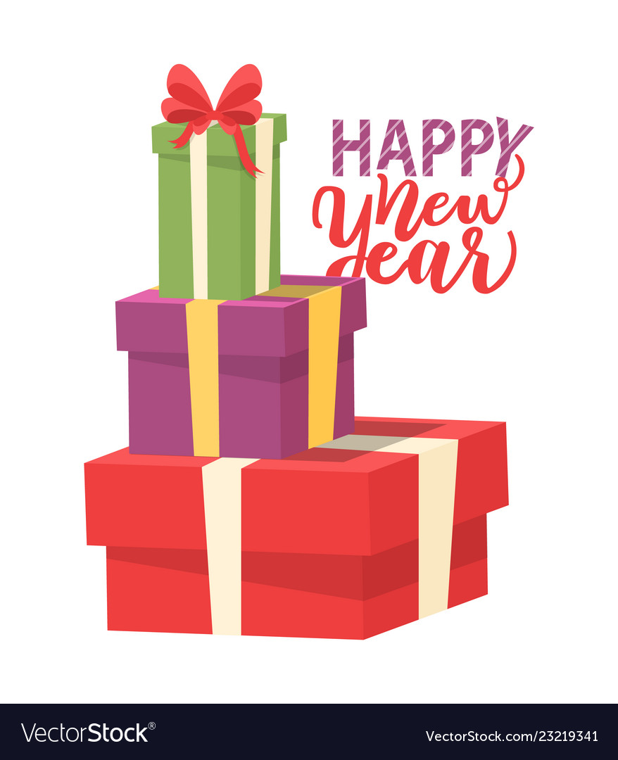 Happy new year greeting card with pile of presents