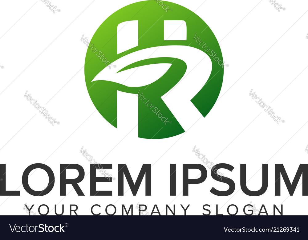 Letter r leaf nature logo design concept template