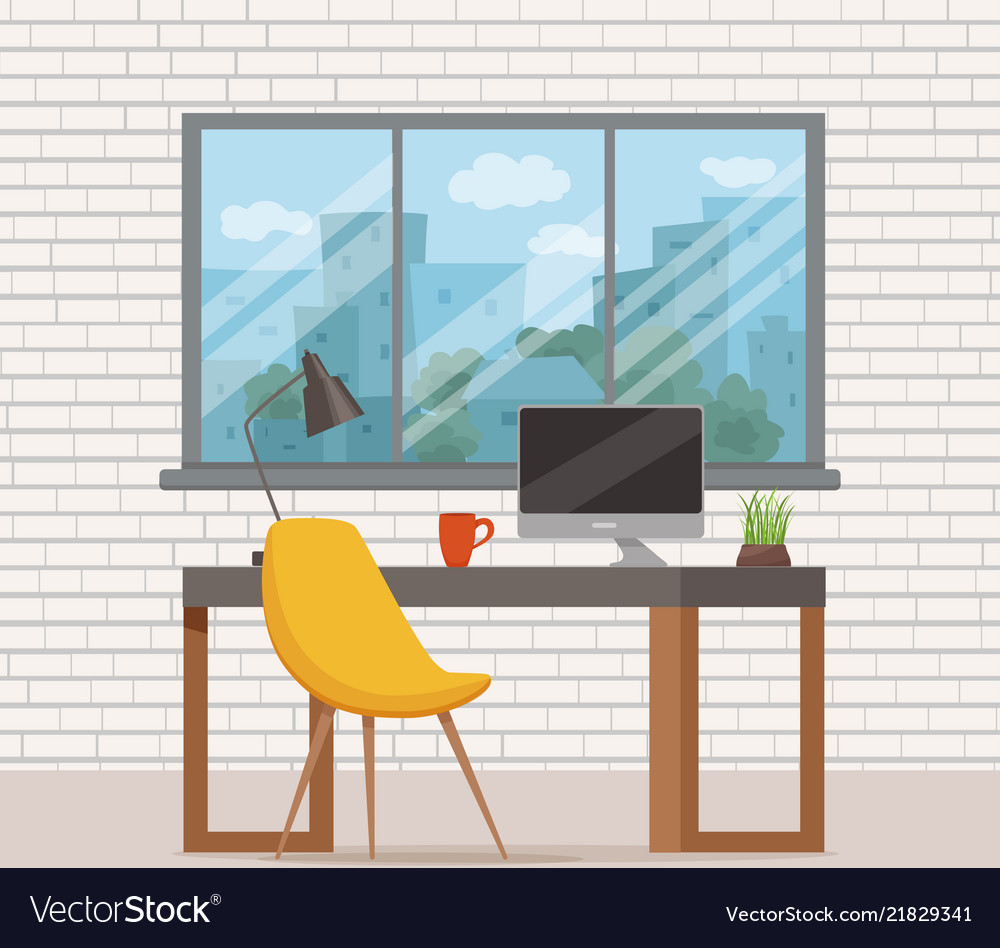 Office workplace interior cartoon design