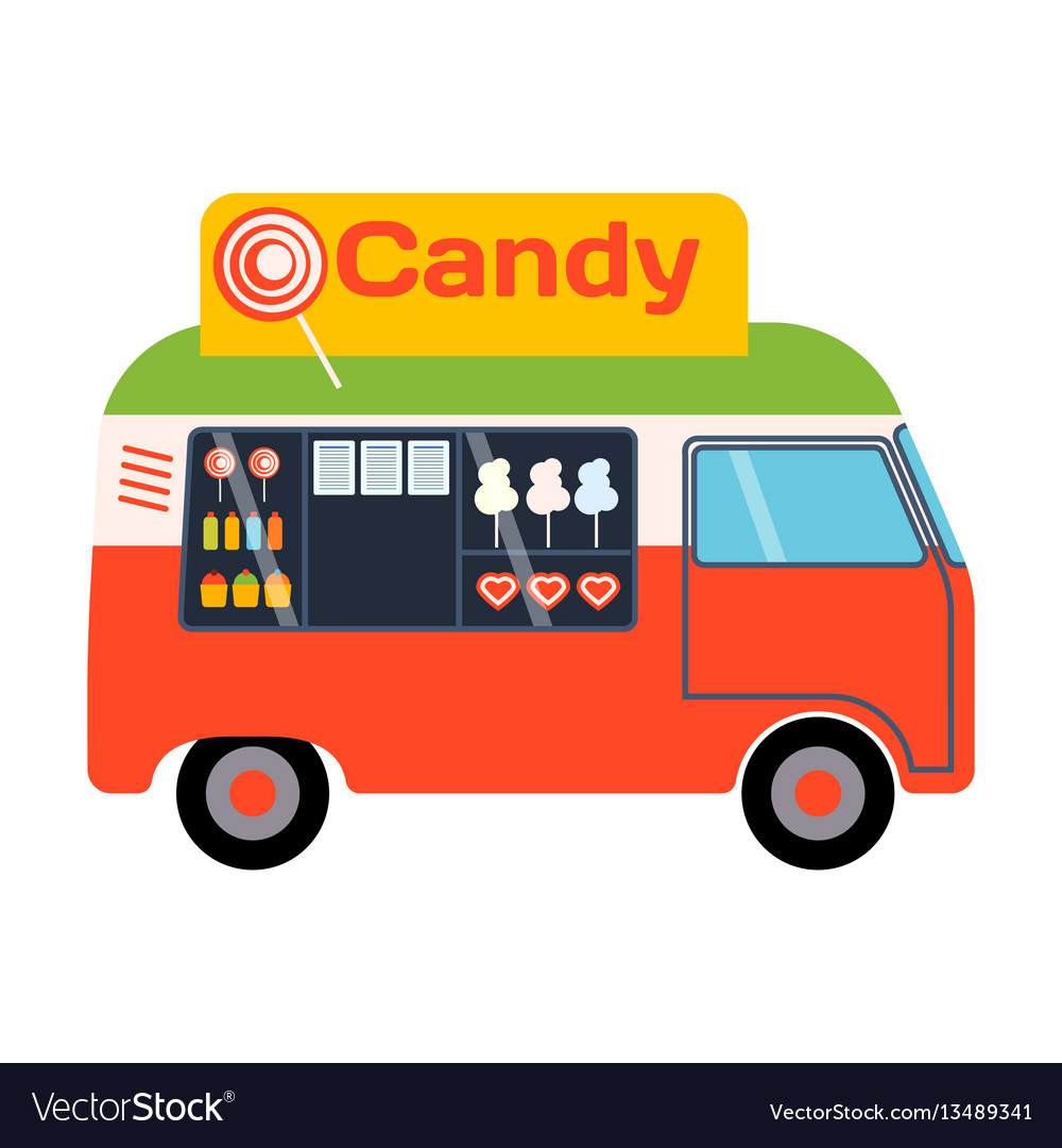Street food festival candy trailer vector image