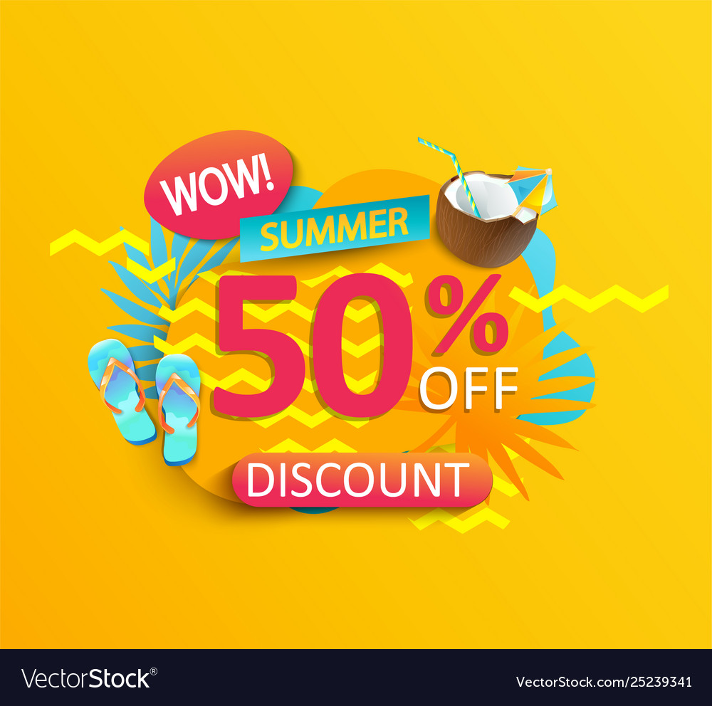 Summer wow sale promotion on yellow background