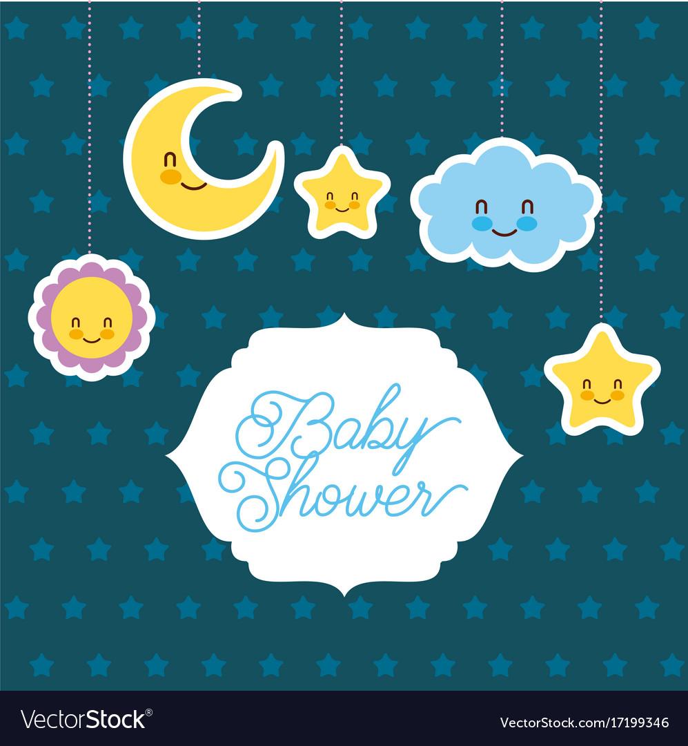 Baby shower card greeting cartoon cloud star sun vector image m4hsunfo