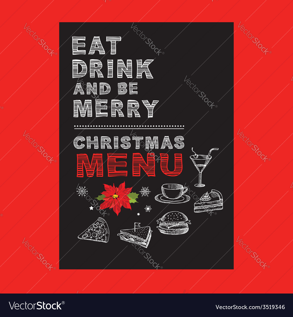 Christmas Restaurant Poster.Christmas Restaurant And Party Menu Invitation Vector Image On Vectorstock