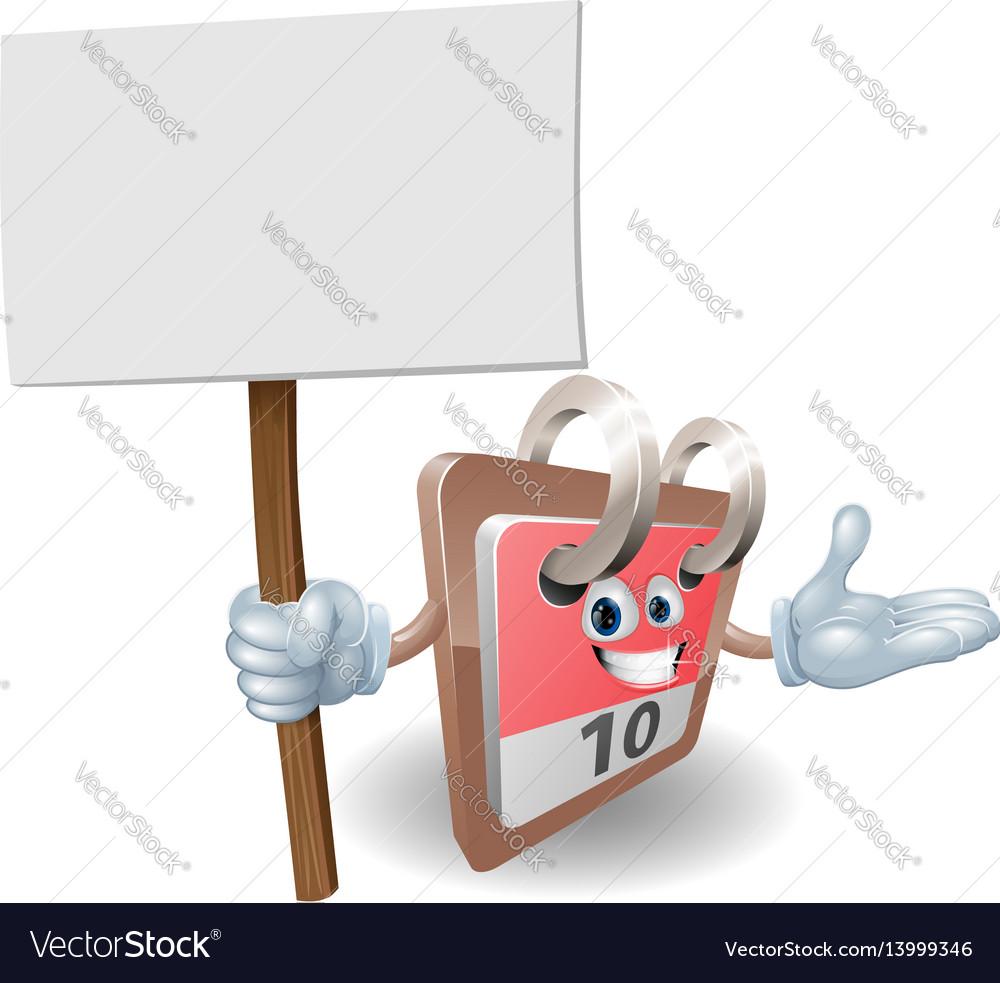 Cute calendar character holding a sign