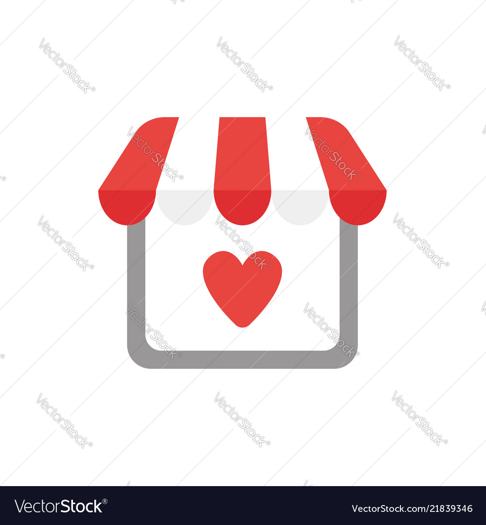 Icon Concept Of Shop Store With Heart Royalty Free Vector
