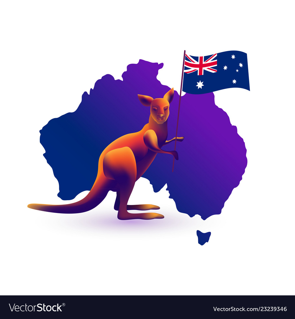 Australia Map With Flag.Kangaroo Map And Flag Of Australia