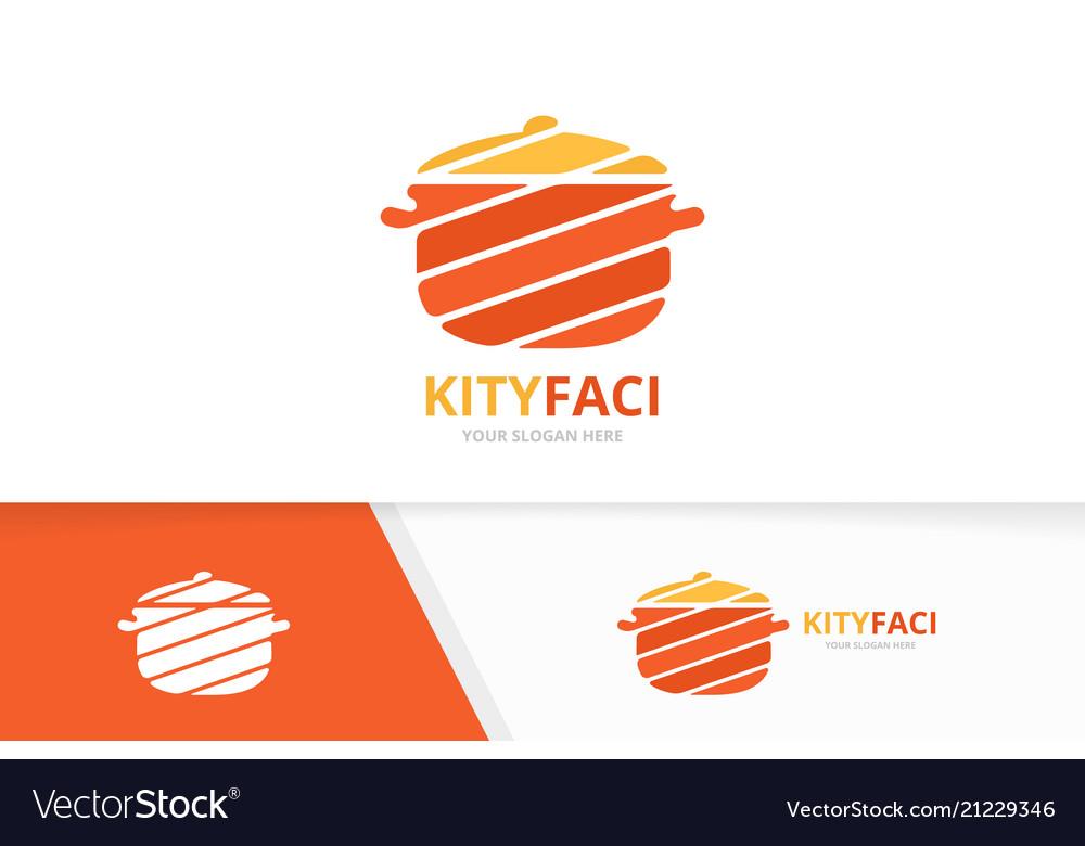 Pot logo combination kitchen symbol or