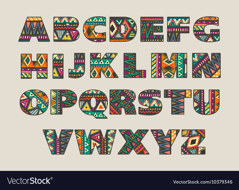 Set of ornate capital letters with abstract