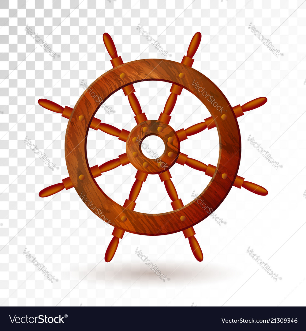 Ship steering wheel isolated on transparent