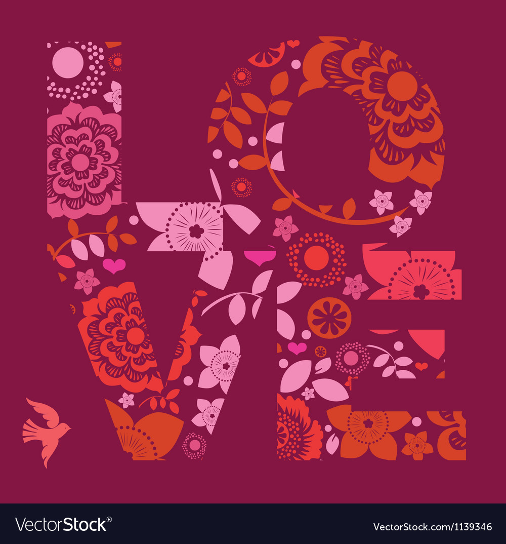 Valentine day love message floral