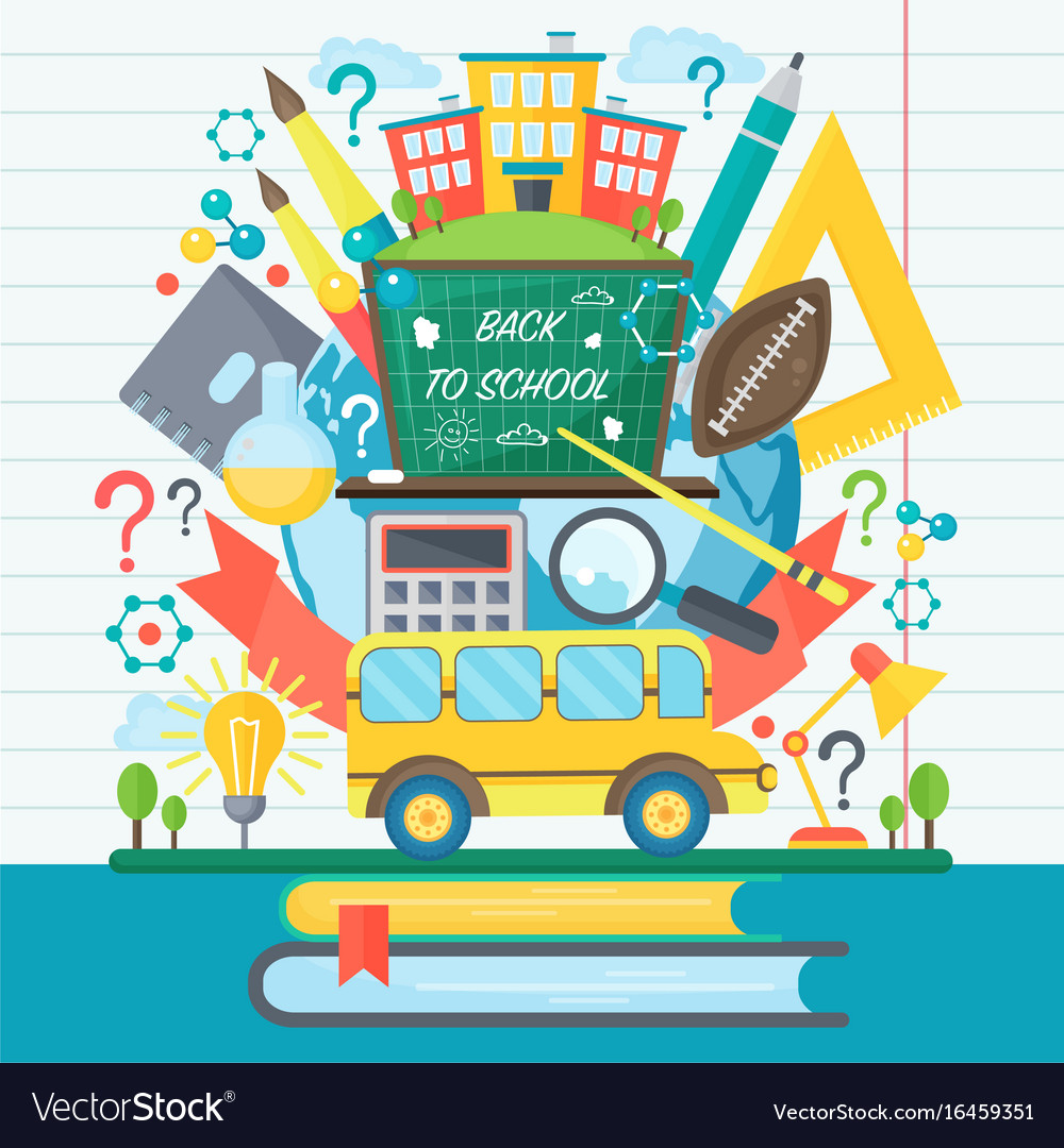 Back to school banner with bus and flat icon set vector image