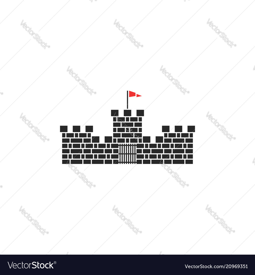 Castle logo medieval tower stone building with red