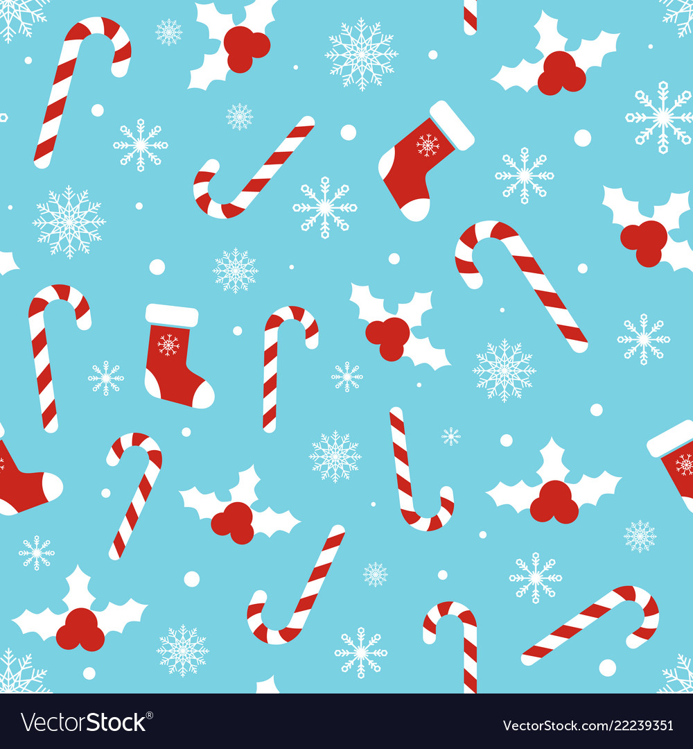 christmas pattern with holly berries candy canes vector 22239351