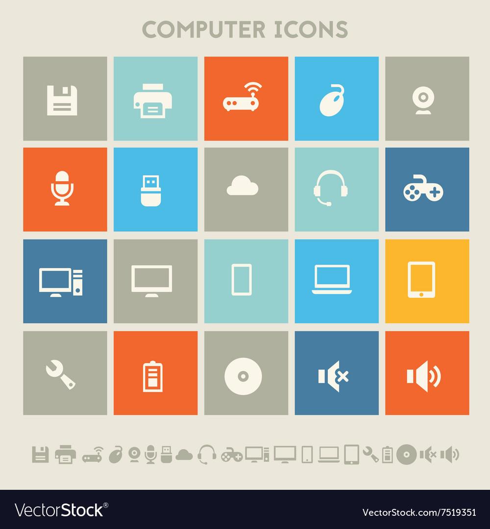 Computer icon set Multicolored square flat