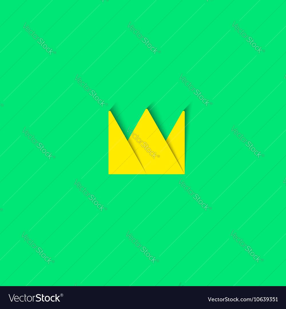 Crown logo paper material design element princess