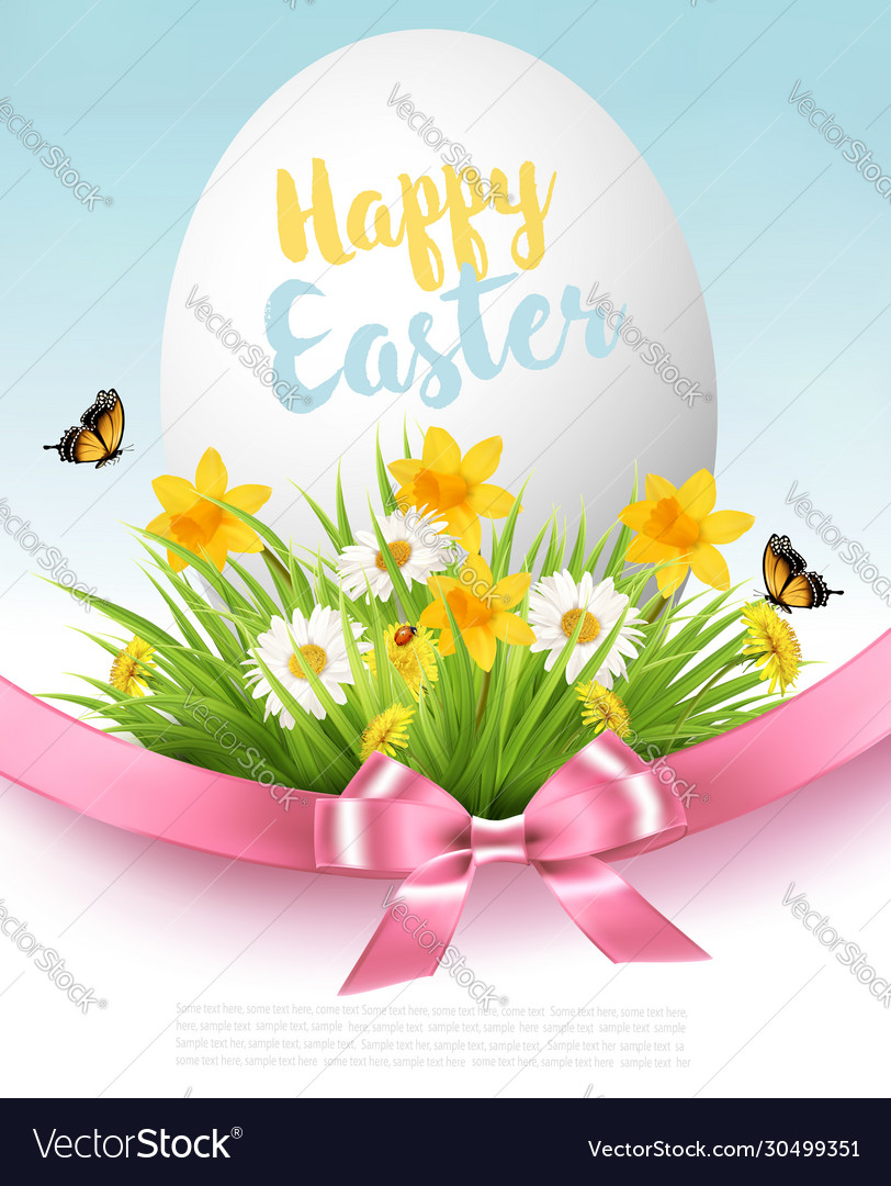 Easter sale background holiday egg in green grass