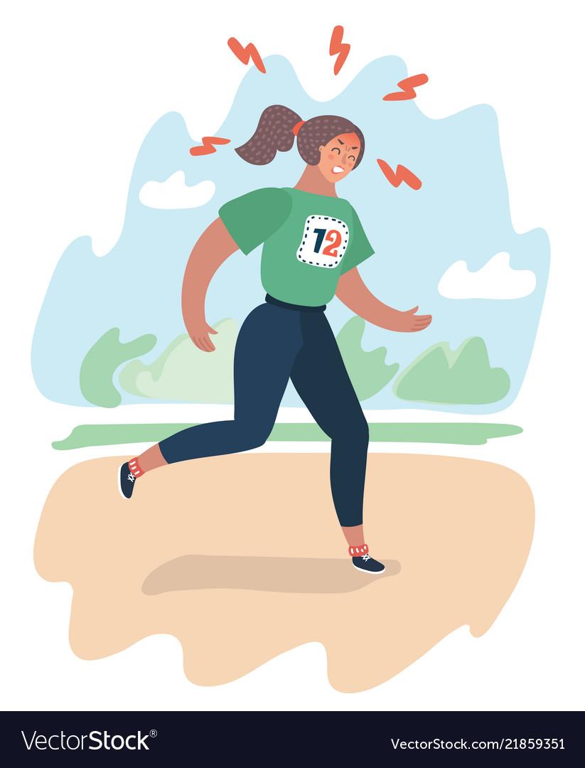 Exhausted cartoon girl running