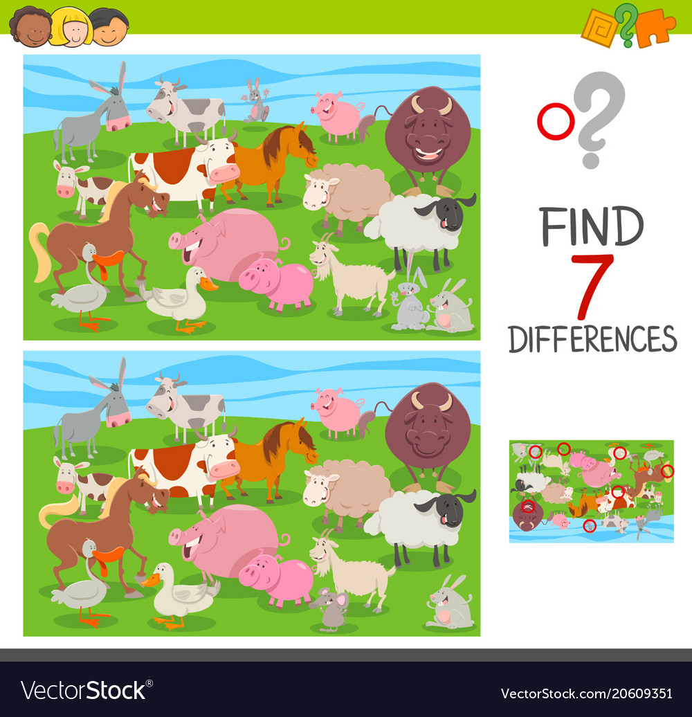 Find differences game with farm animals group