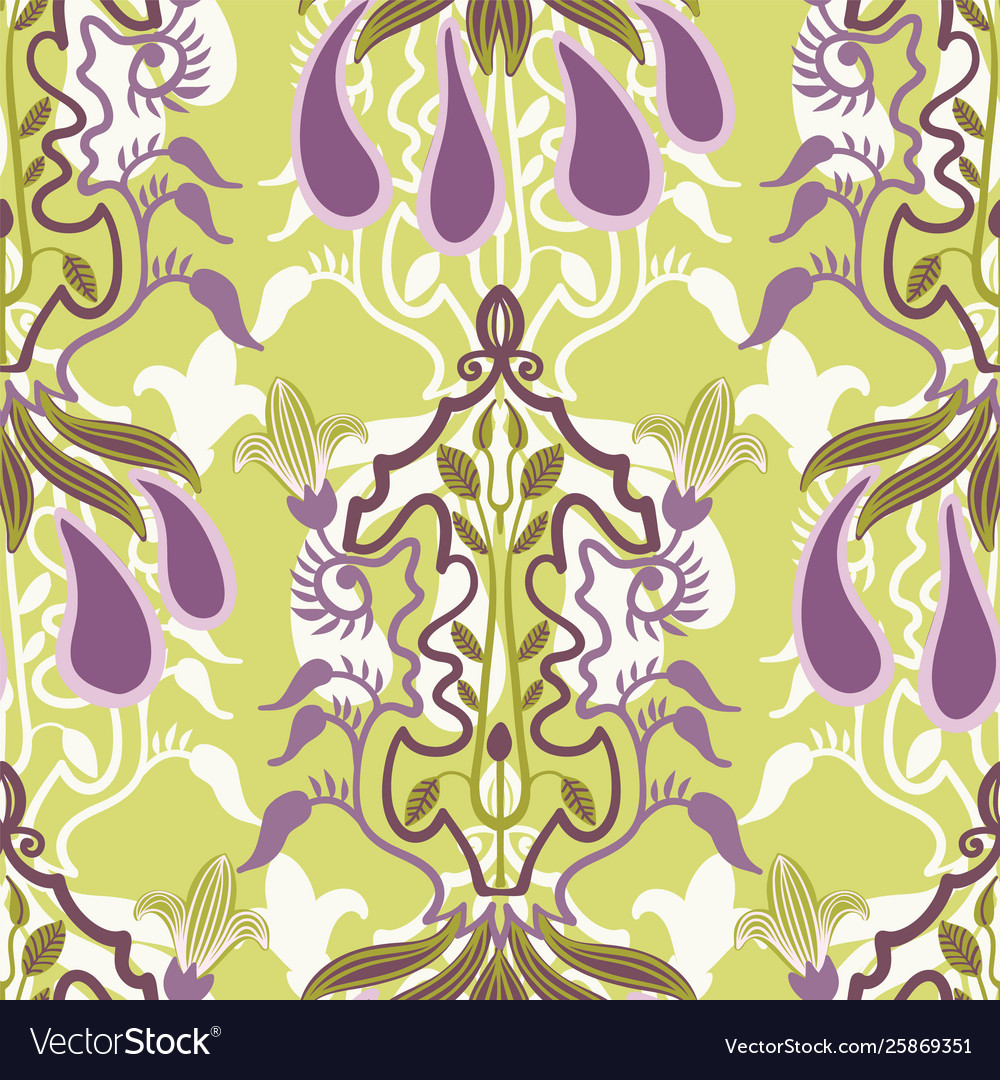 Floral seamless pattern in art nouveau