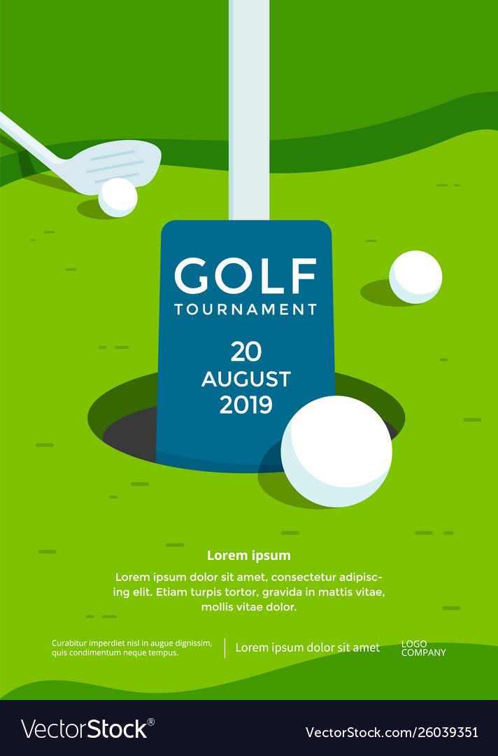 Golf tournament poster design template sport flyer