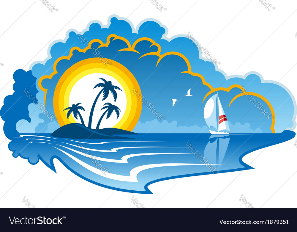 Idyllic tropical island with a yacht vector image
