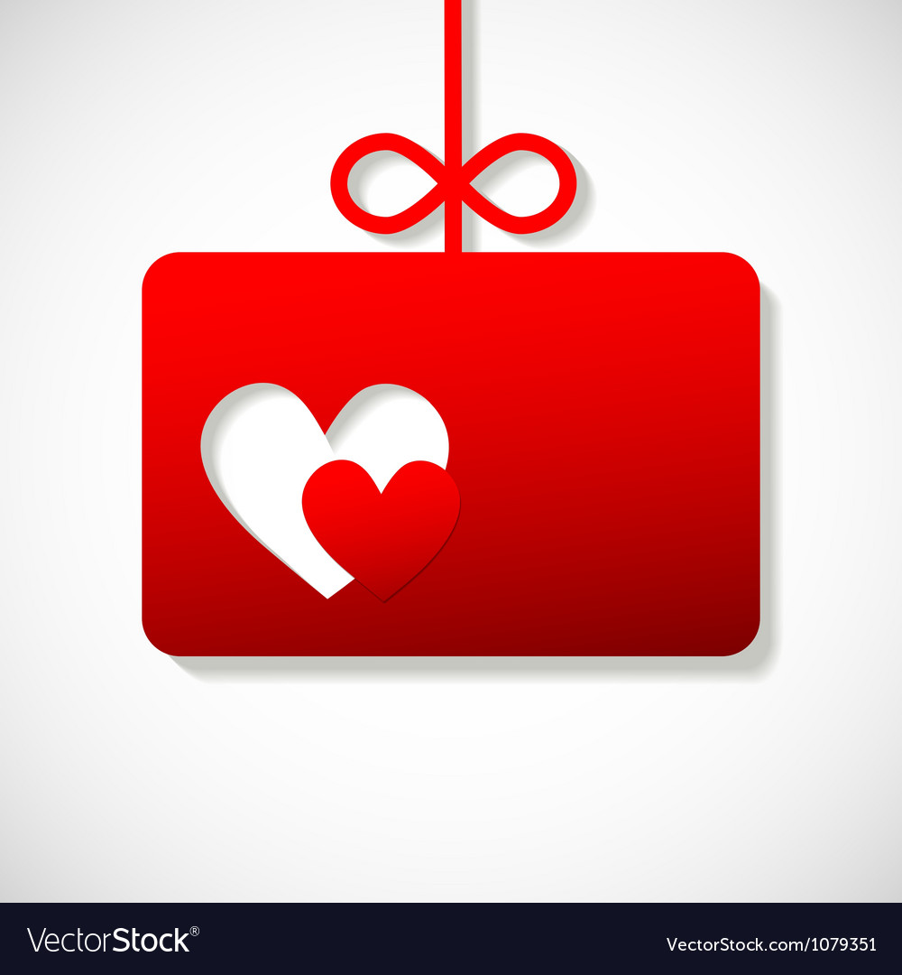 Paper banner by Valentine two hearts on the right vector image