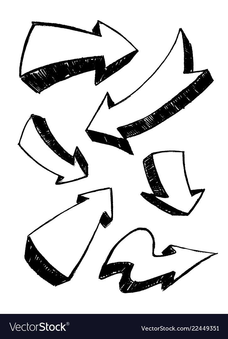 Set of hand-drawn doodle black arrows