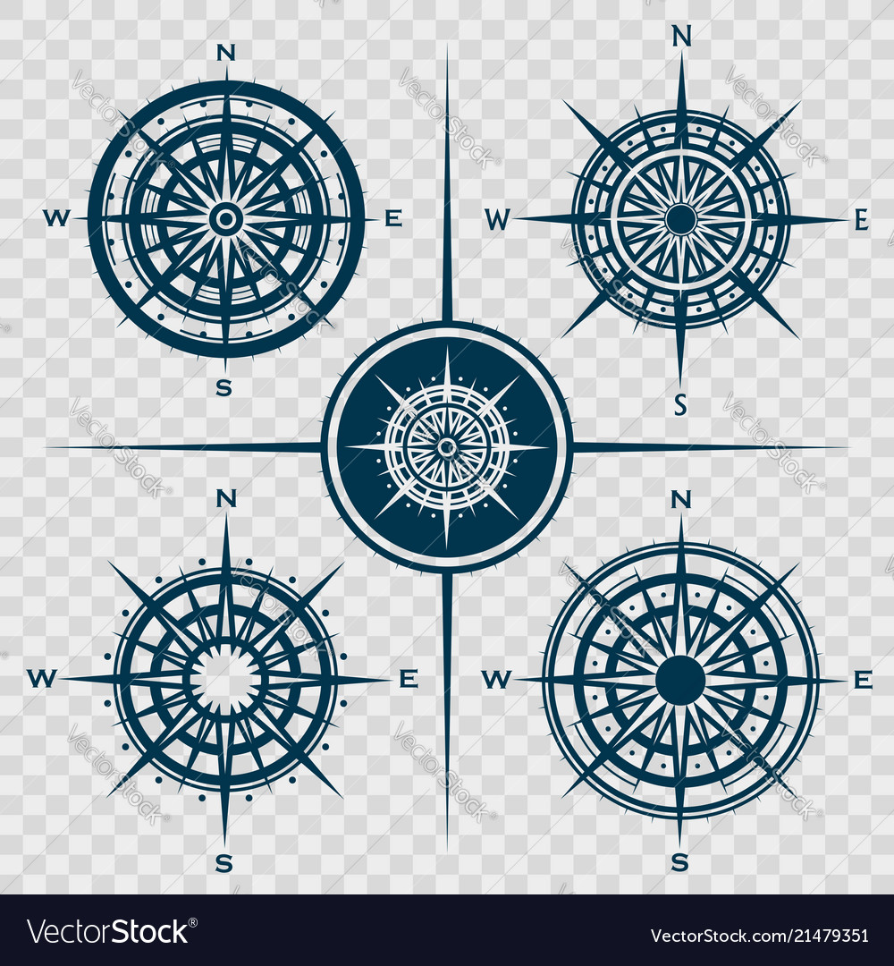 Set of isolated compass roses or wind roses