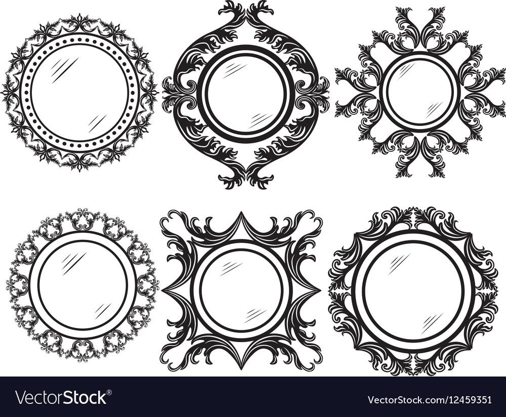 Set of Vintage Retro Round frames Royalty Free Vector Image