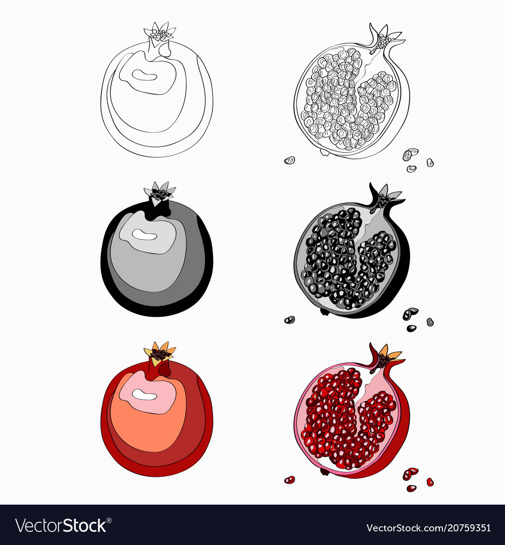 Set pomegranate cut garnet