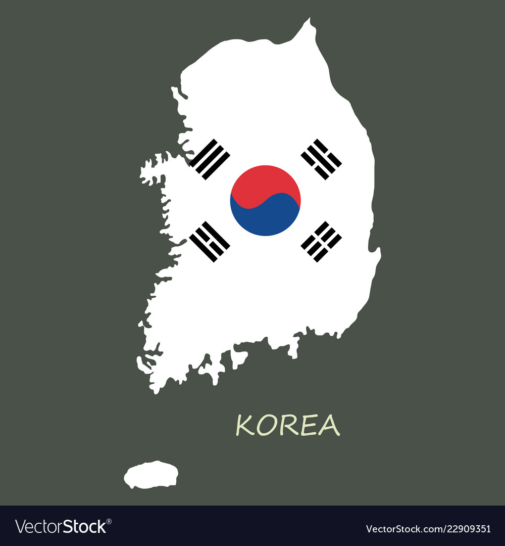 South korea map flat icon with long shadow eps10