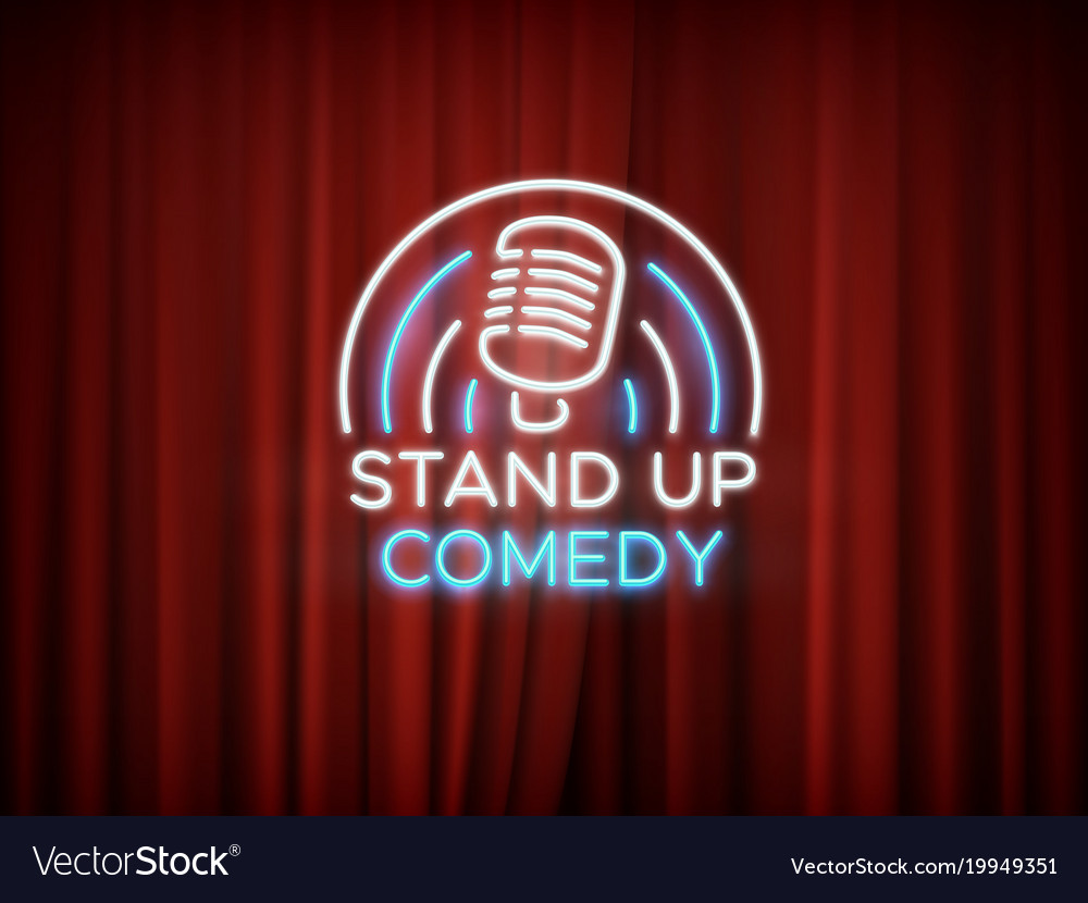 Stand up comedy neon sign with microphone and red