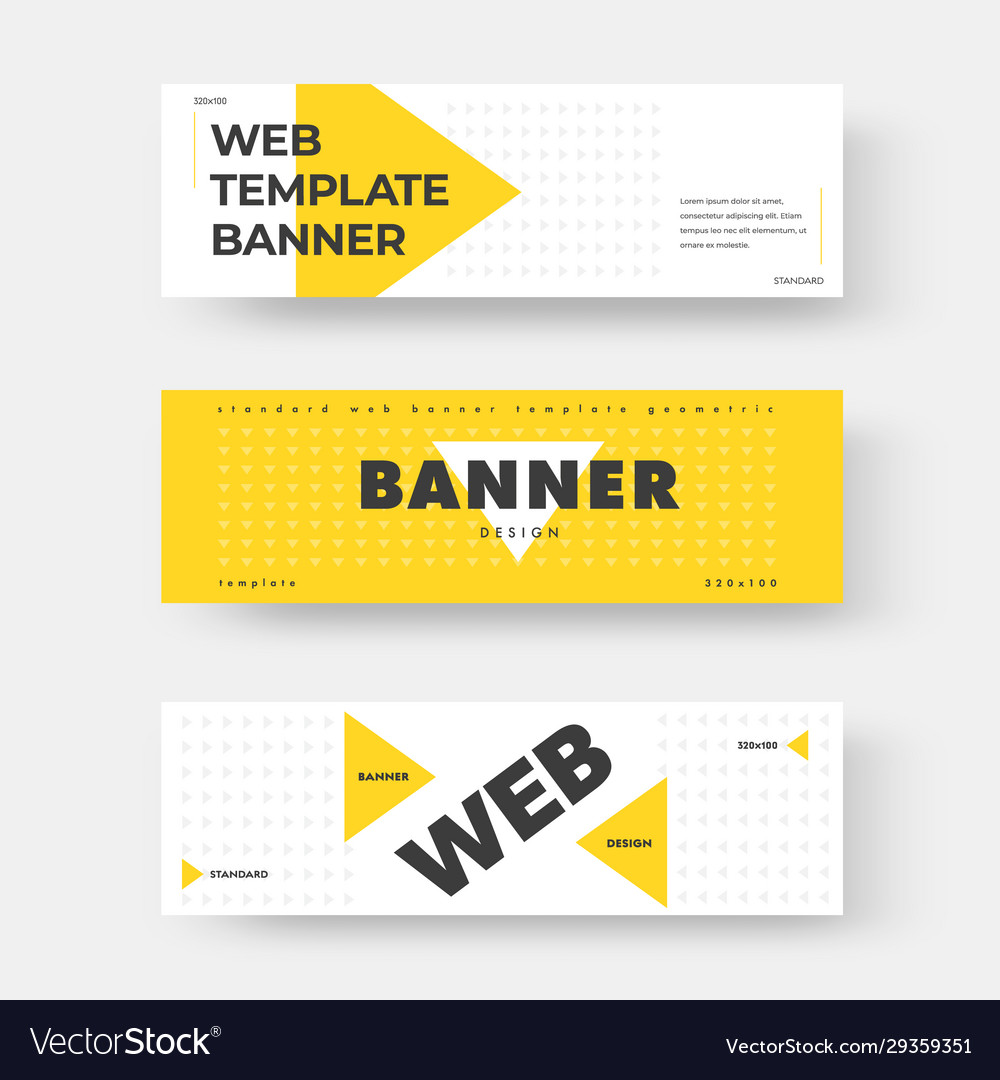White horizontal web banner with yellow triangle
