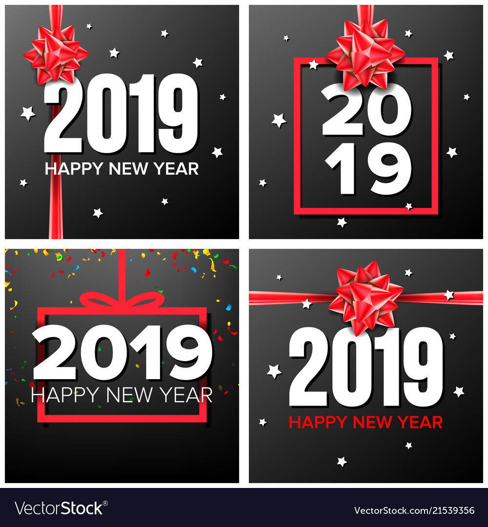 2019 happy new year background set numbers