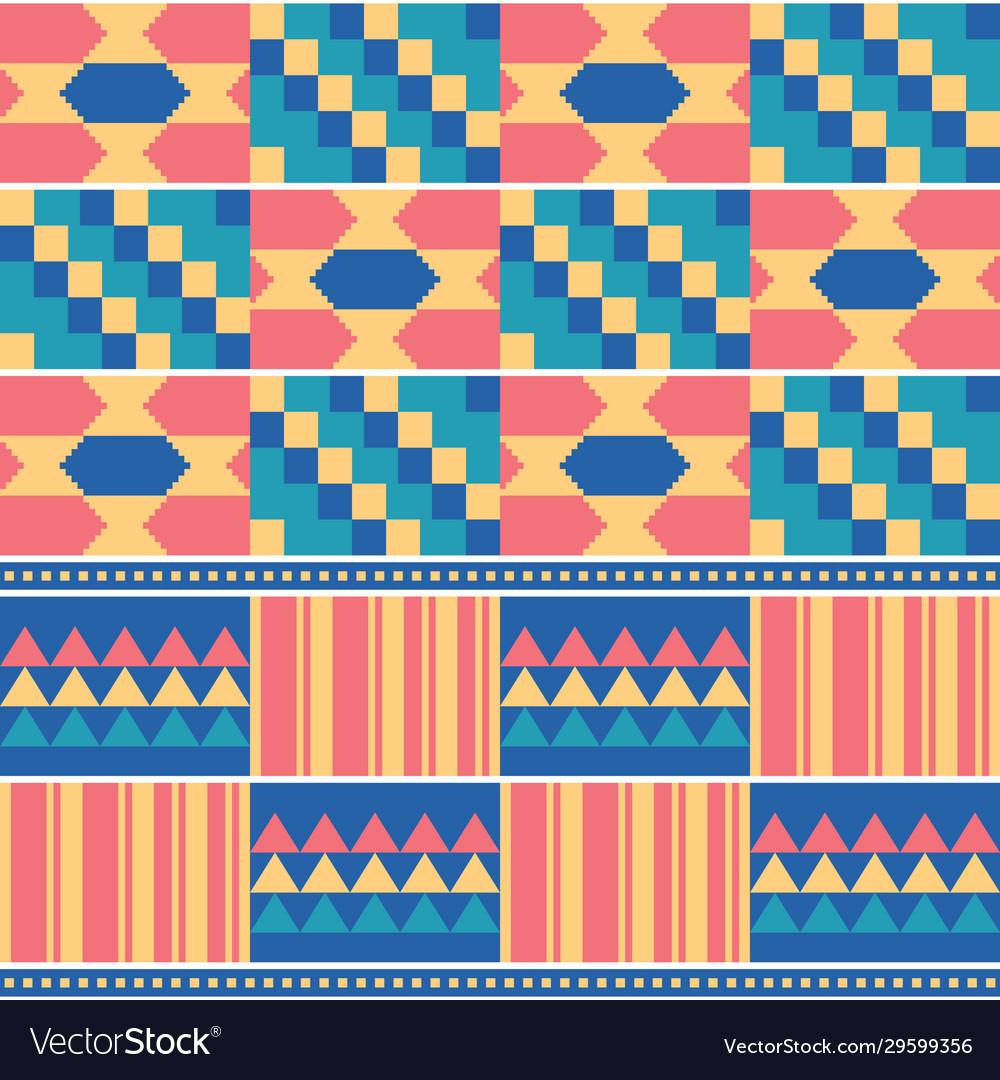 African tribal kente cloth seamless pattern