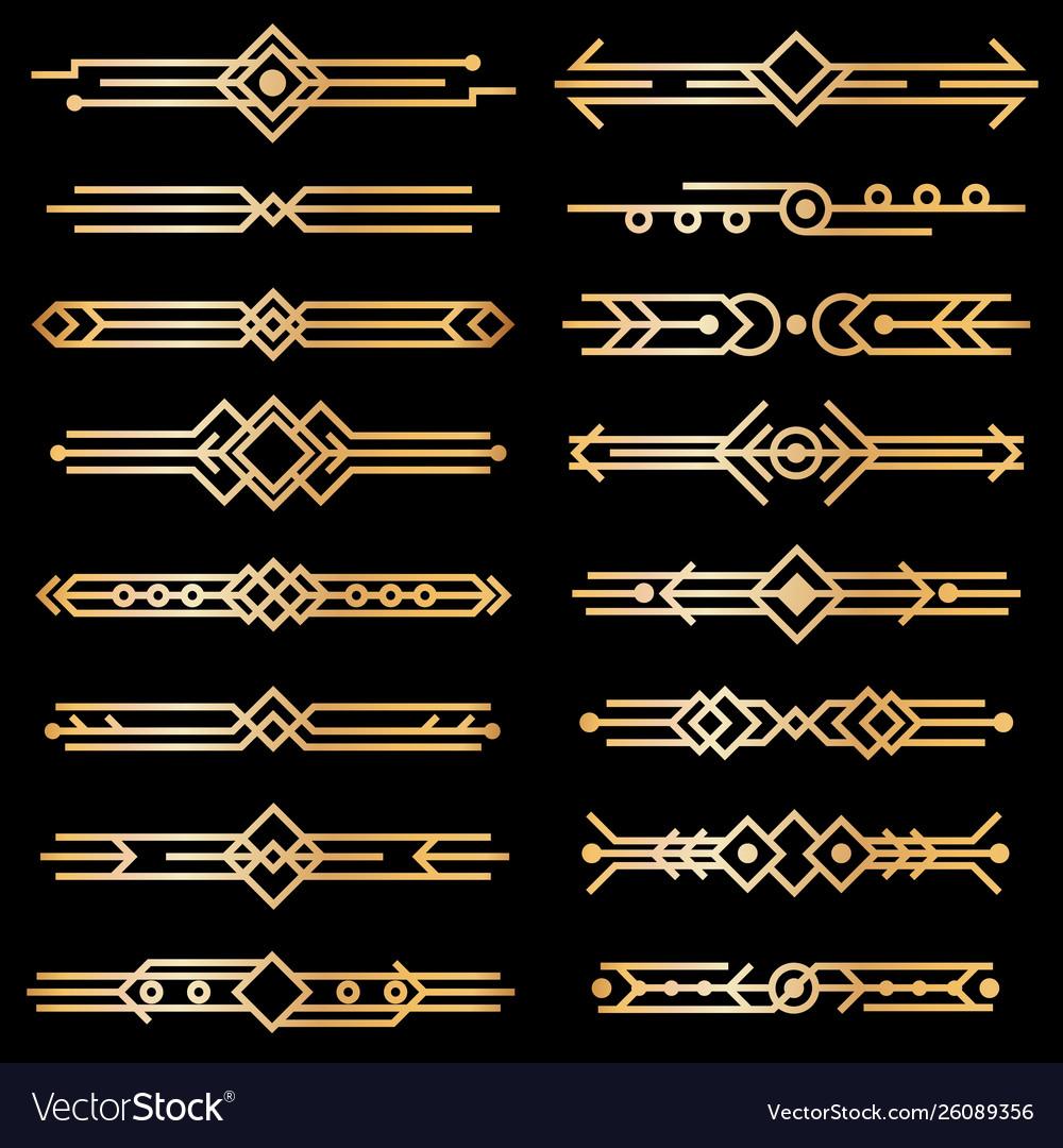 Art Deco Dividers Gold Deco Design Lines Golden