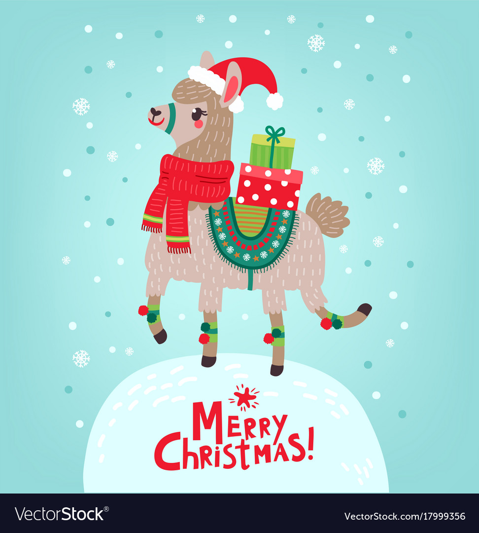 Llama Christmas.Christmas Card Llama