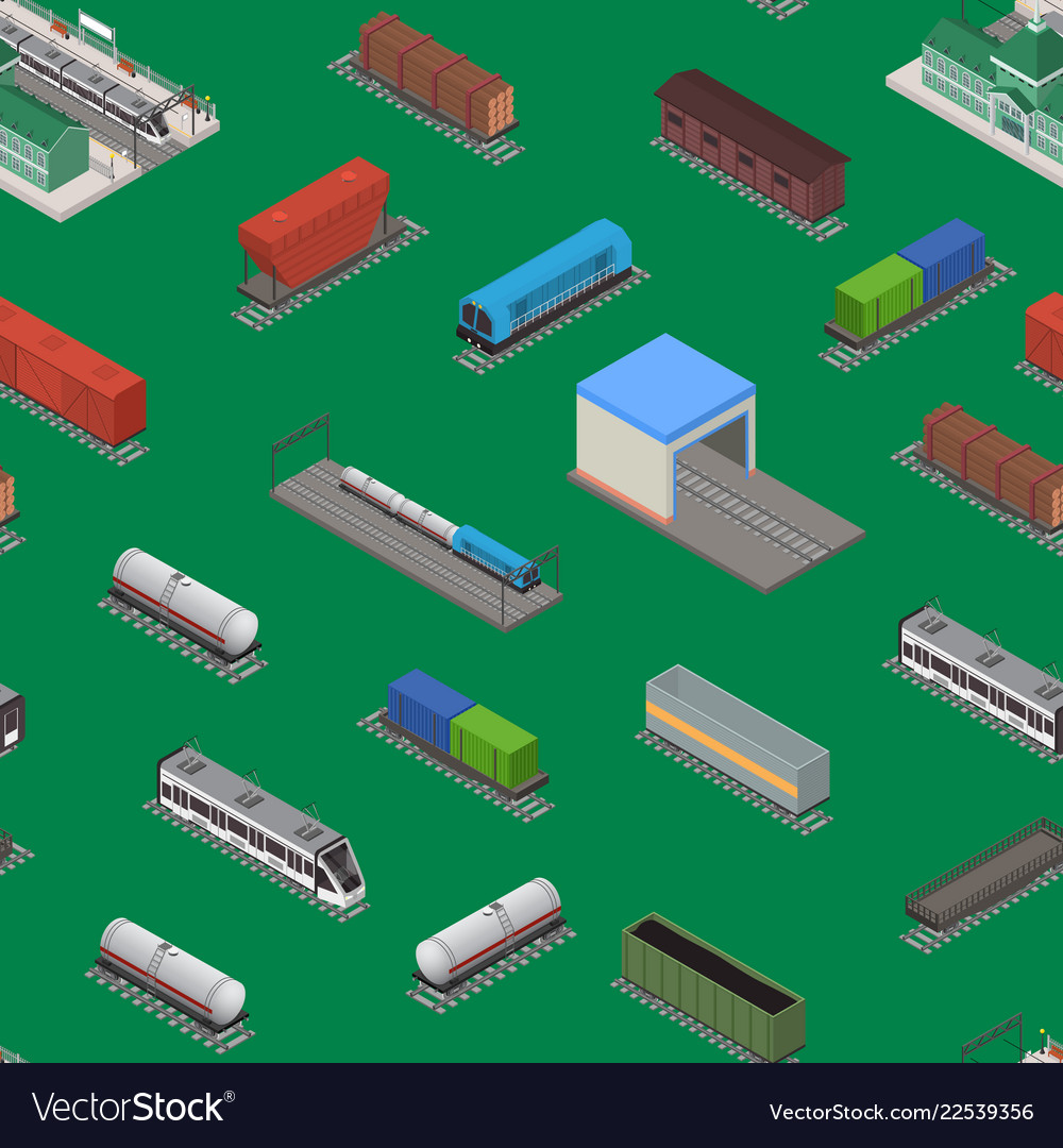Different types train 3d seamless pattern