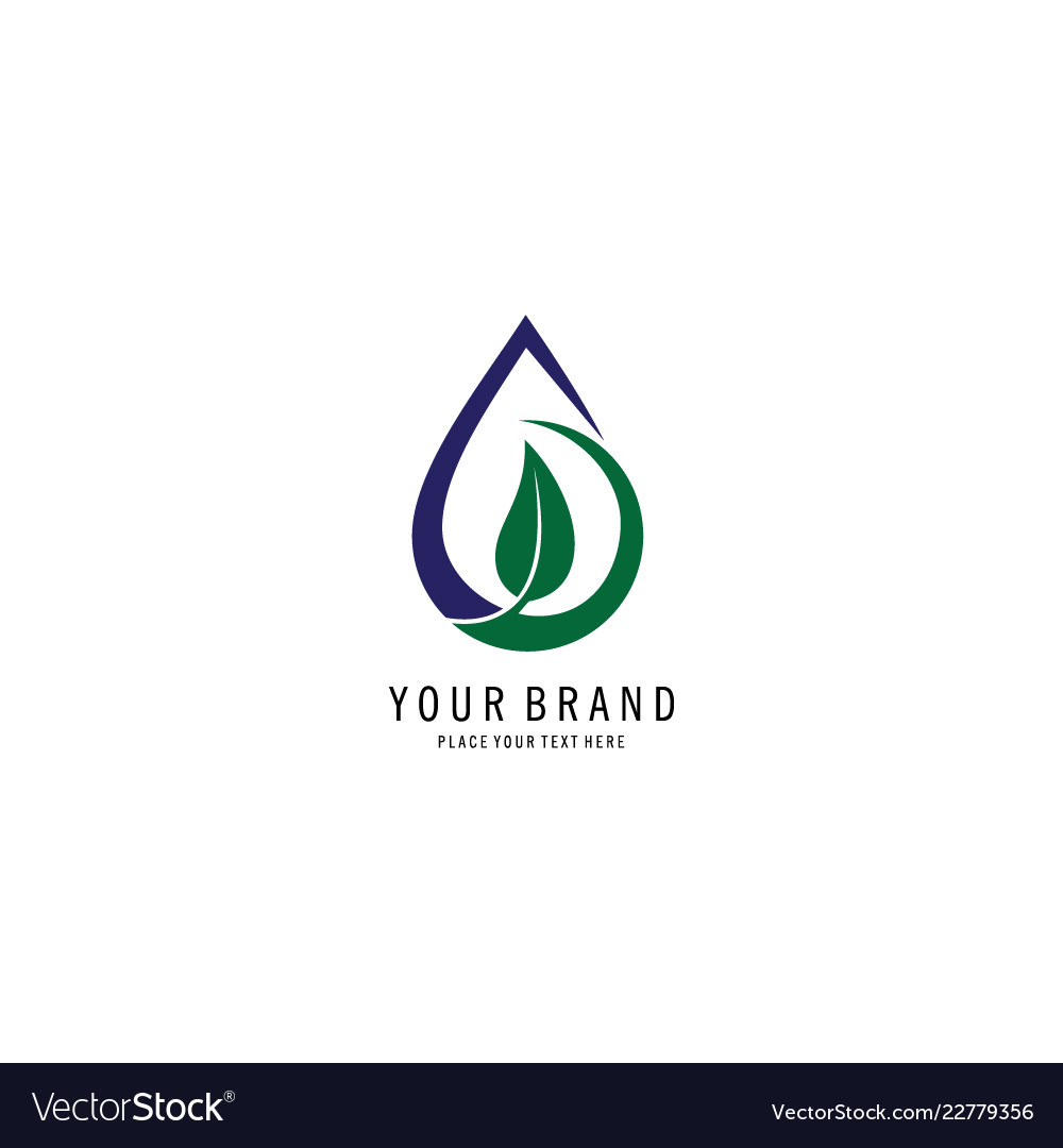 Drop water and leaf logo
