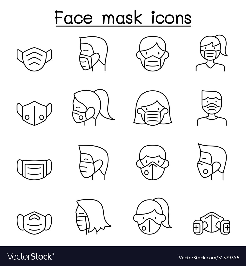Face mask protection virus icons set in thin line