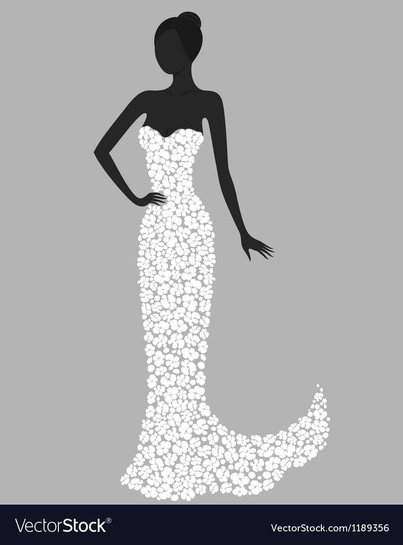 Gorgeous Girl In White Flower Dress Royalty Free Vector