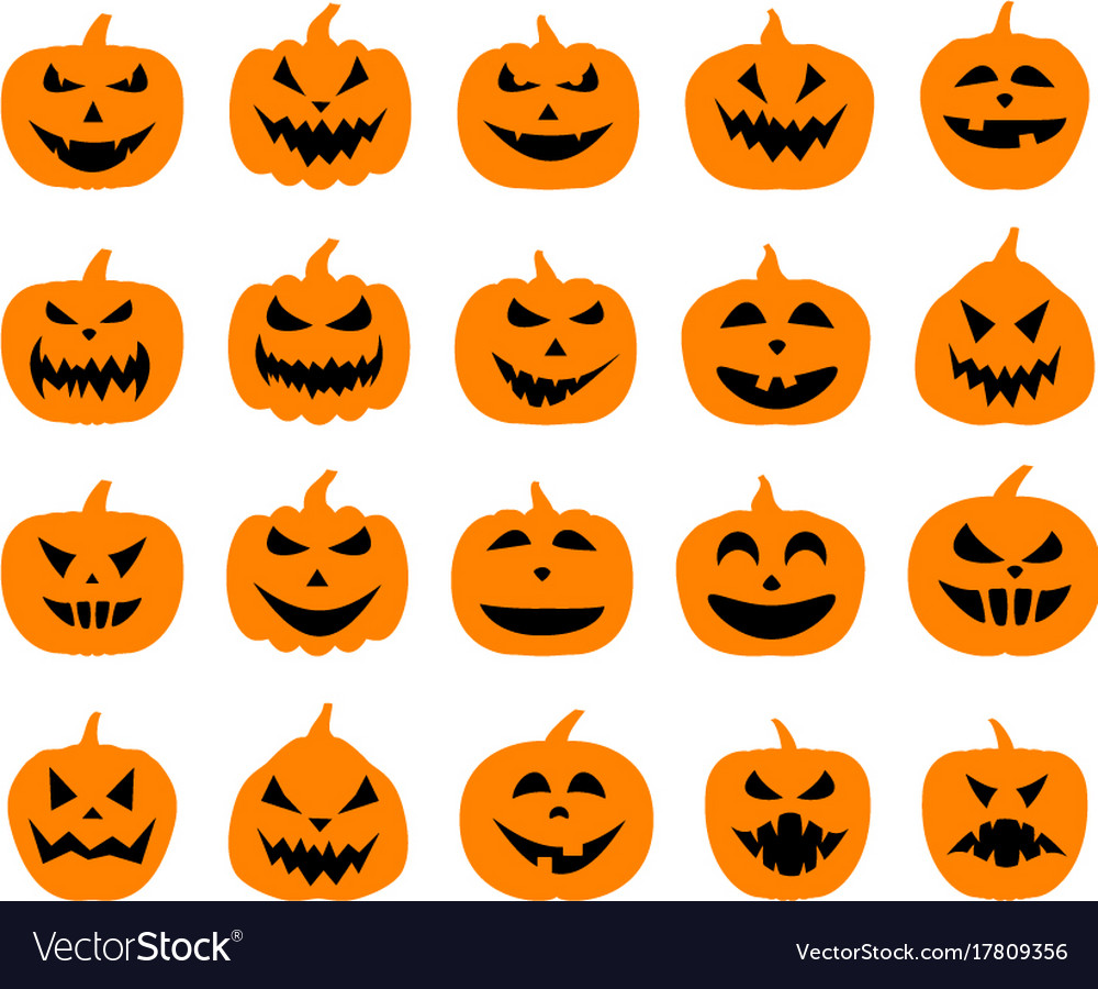 Halloween pumpkin faces set on white