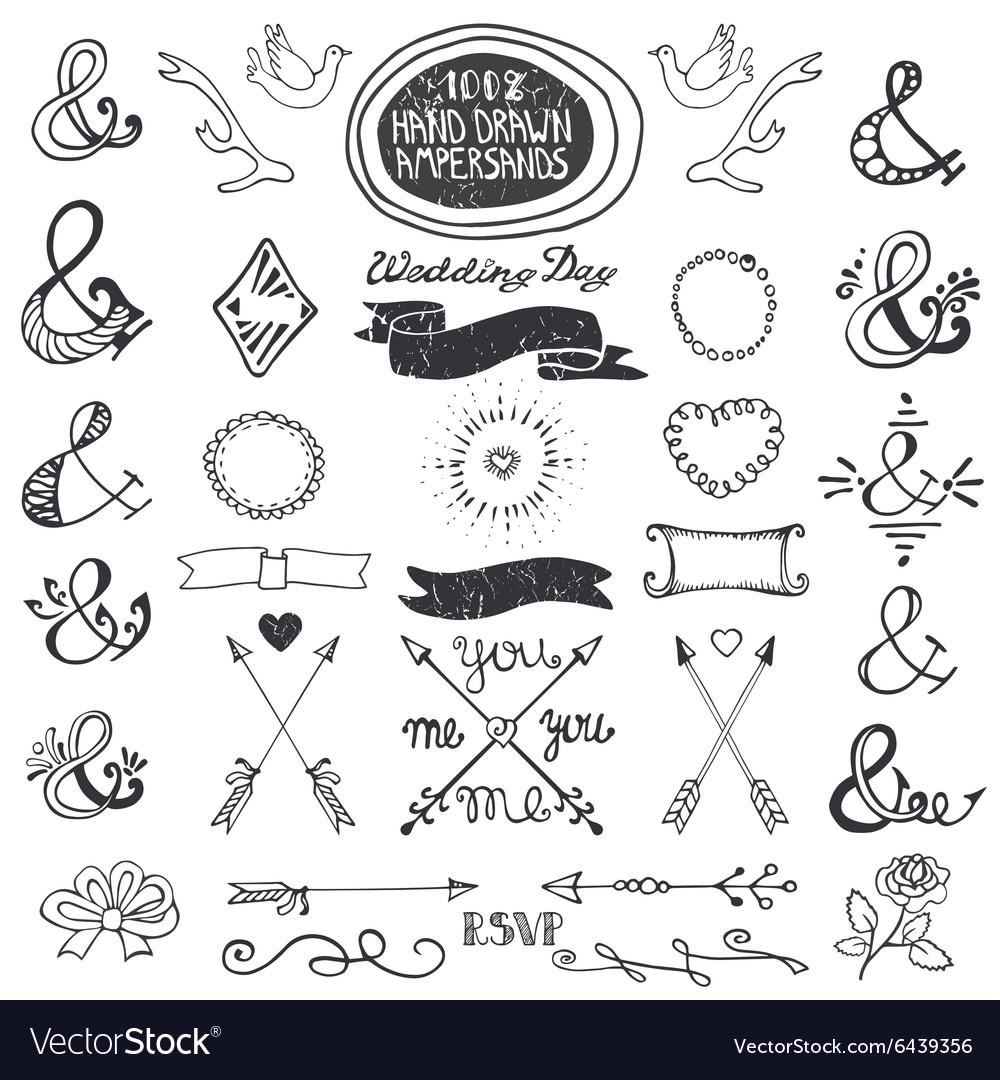 Hand drawing lettering ampersands set Wedding