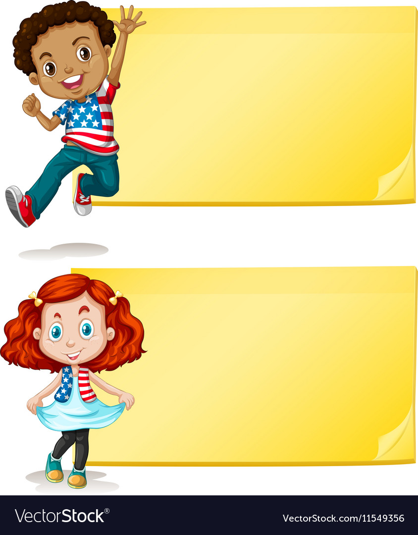 Label design with kids and yellow background