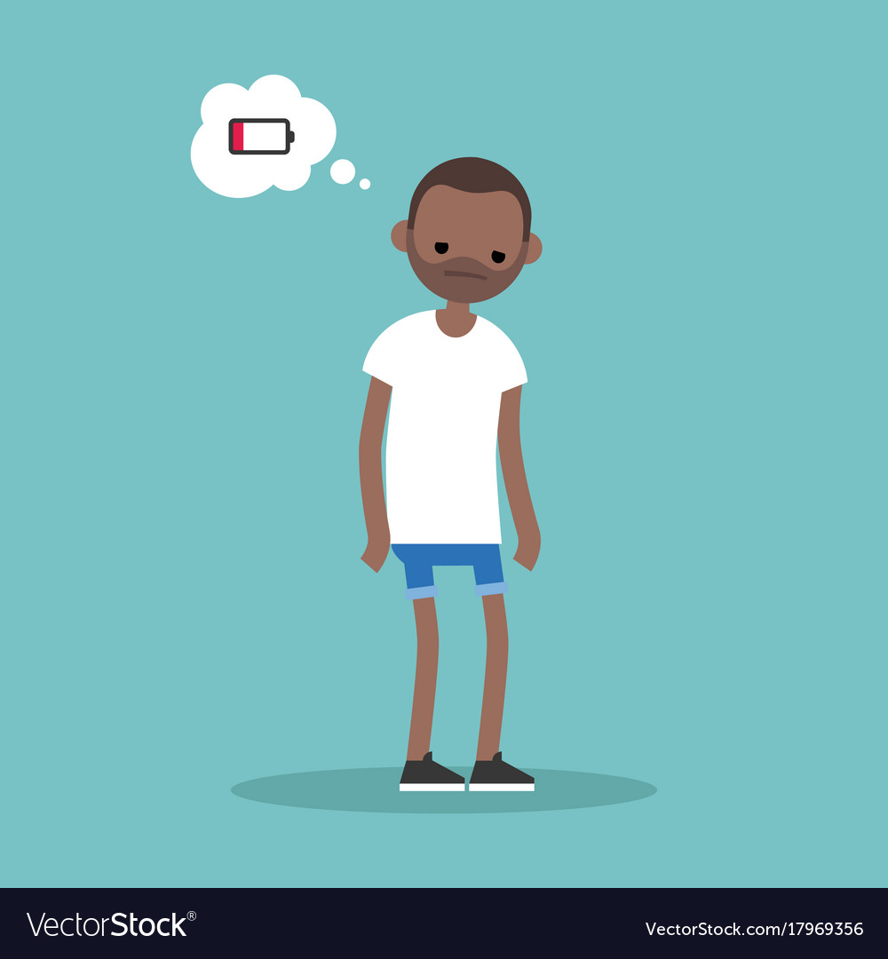 Low battery conceptual young exhausted black man