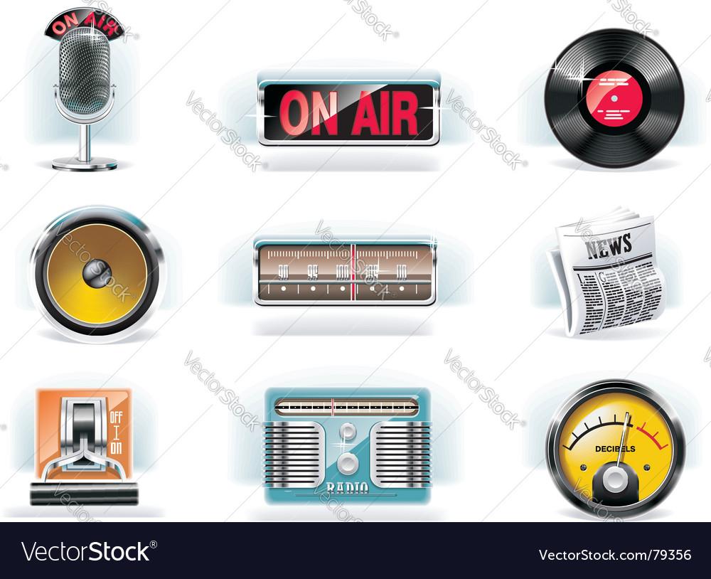 Radio icon set white background vector image