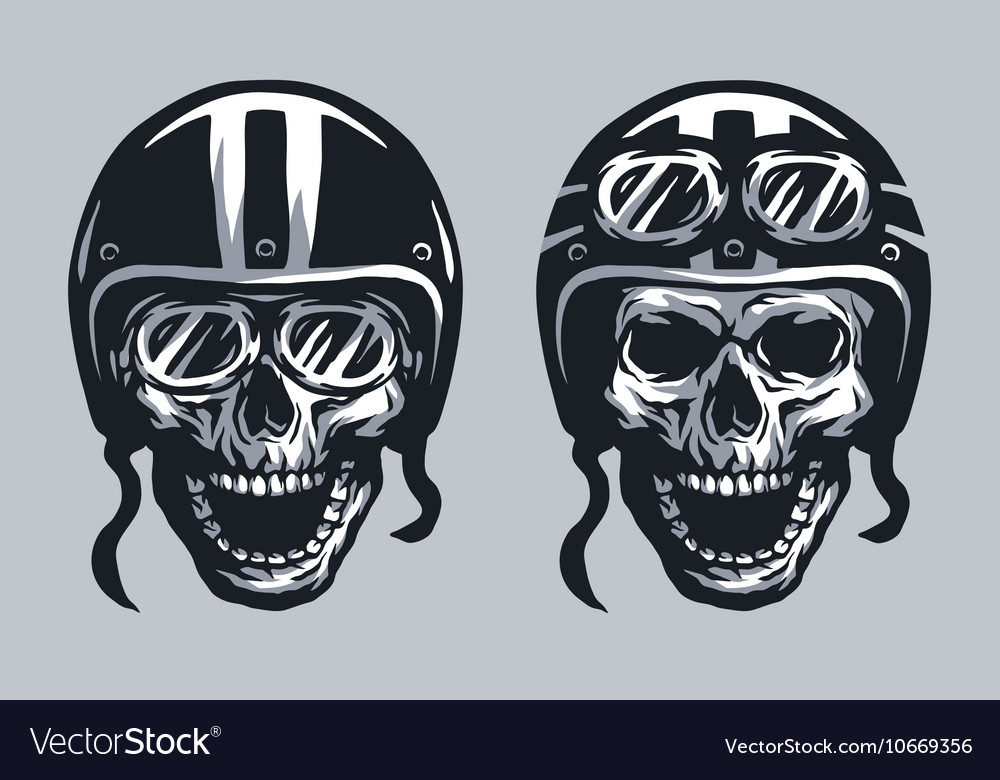 Skull biker in helmet and glasses