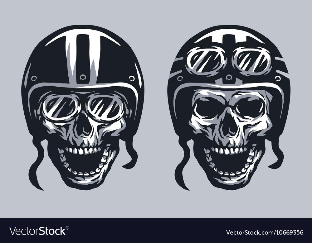 Skull biker in helmet and glasses vector image
