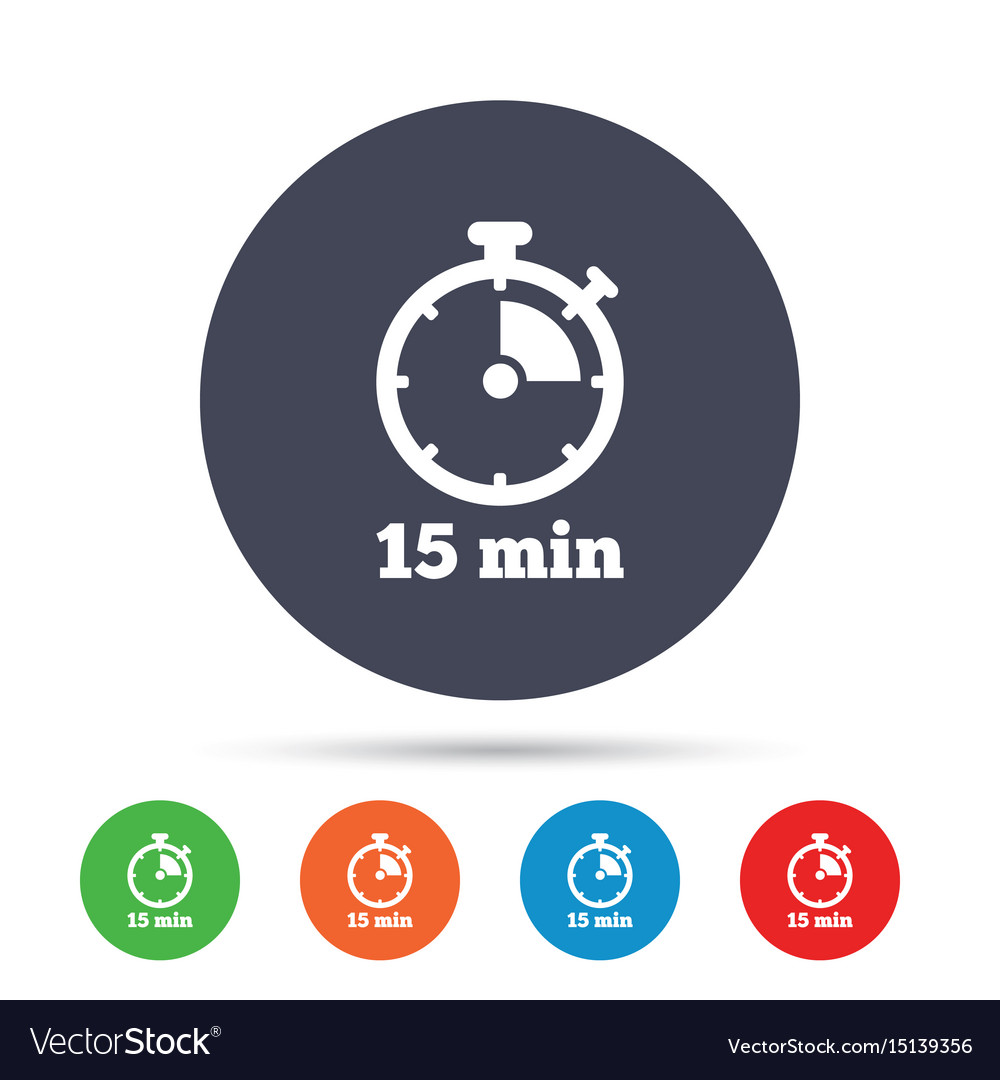 timer sign icon 15 minutes stopwatch symbol vector image