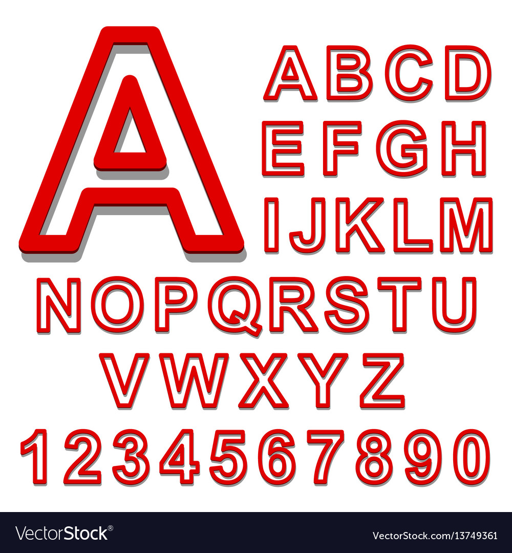 3d alphabet set red font on a white background